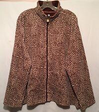 women Jacket Top Full Zip 2X velour LEOPARD PRINT Long slv pockets Ac-Tiv-Ology