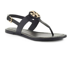 Tory Burch BRYCE Leather Flats Thong Sandals Black Size 7-9