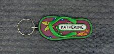 KATHERINE Rubber Flip Flop Name Key Ring Keychain Stocking Stuffer Butterfly