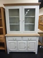 New Large Light Grey & Oak Glazed Dresser Display Unit Cabinet *Furniture Store*