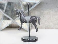 Zirkuspferd Schaukelpferd Pferd Karusselpferd Holz Grau 15cm Shabby Vintage