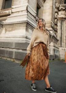 Zara Woman Brown Snake Print Pleated Midi Skirt Size XL 14-16