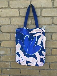Women's gorgeous GORMAN Blue Shades Pink abstract flower style tote shoulder bag