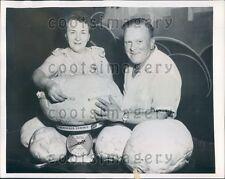 1954 Chicago Mushroom Fancier Weighs Huge Mushrooms Press Photo