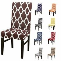 1Pc Geometric Banquet Chair Covers Spandex Stretch Seat Slipcovers Dining Room