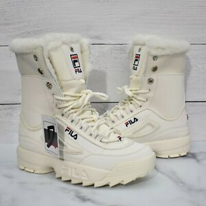 FILA Women's Size 7.5 Shearling Disruptor Boot Winter Athletic Sneaker White
