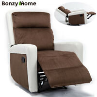 Recliner Chair Overstuffed Suede Fabric Sofa with PU Armrest for Living Room