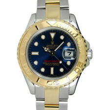 ROLEX - 29mm 18kt Gold & SS Ladies YachtMaster BLUE Index Dial 169623 SANT BLANC