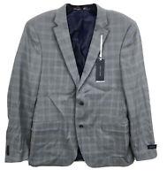 Tommy Hilfiger Mens Window Pane Two-Button Blazer Jacket Gray Size 40 L Wool