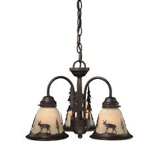 NEW 3 Light Rustic Deer Chandelier Fixture OR Ceiling Fan Lighting Kit, Bronze