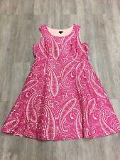 Talbots Silk Blend Pink White Paisley Seamed Dress Sz 18