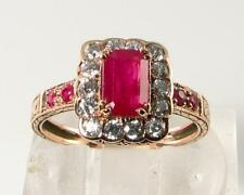 LARGE 9CT 9K ROSE GOLD INDIAN RUBY & DIAMOND ART DECO INS RING FREE RESIZE