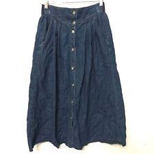 Network Petite Denim Skirt 2 Blue Jean Long MidCalf Modest Button Front Womens