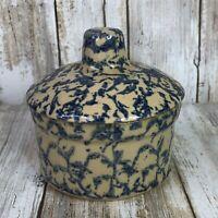 Vintage Robinson Ransbottom Roseville Pottery Small Dish Blue Sponge Painted