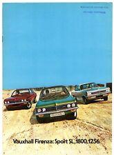 Vauxhall Firenza 1972-73 UK Market Sales Brochure 1256 DL 1800 2300 Sport SL