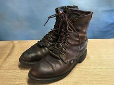 JUSTIN KILTIE BROWN LEATHER ROPER WORK BOOTS MEN'S SIZE 10 EE (EXTRA WIDE)