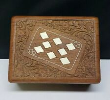 Vintage carved wooden Playing Card Box/Trinket Box