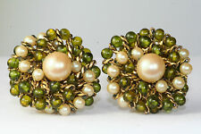 VINTAGE GORGEOUS ORNELLA ITALY OLIVE GREEN GLASS BEADS FAUX PEARL EARRINGS