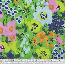 Patchwork/craft Fabric Flowers & Butterflies Inprint @ Makower 5656g 100 Cotton