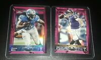 2015 Topps and Topps Chrome Pink Joe Flacco /499 and Joique Bell /399 2 Card Lot
