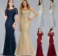 Women's Evening Long Gowns Dress Mermaid O Neck Short Sleeve Laced Party Dresses