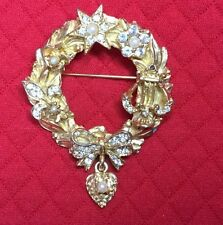 Pretty Graziano Christmas, Rhinestones And Faux Pearl, Gold Tone.