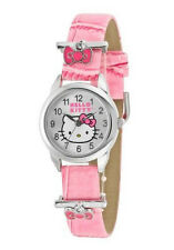 Sanrio Hello Kitty Pink Silver Wristwatch w Accent Decorative Bows Hkaq260 Nib