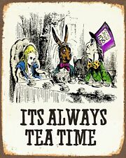 METAL VINTAGE SHABBY-CHIC TIN SIGN ALICE IN WONDERLAND PLAQUE tea time a5