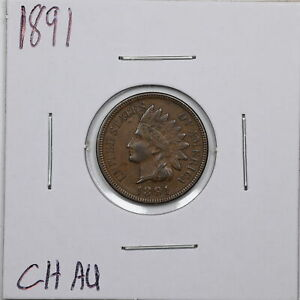 1891 1C Indian Head Cent in Choice AU Condition #05670