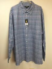 Claiborne Stretch Men's Shirt 4 XLT Long Sleeves Blue Plaid New With Tags