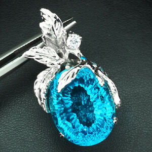 TOPAZ SWISS BLUE CONCAVE OVAL 29.10 CT. SAPP APATITE 925 STERLING SILVER PENDANT