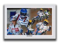 NICKI PEDERSEN HAND SIGNED 12X8 MONTAGE PHOTO - SPEEDWAY AUTOGRAPH.