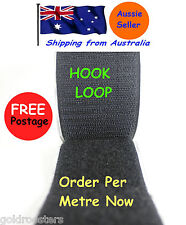 50mm Hook & Loop Tape Fastner Self Adhesive Black - Per Metre Good Grip & Value