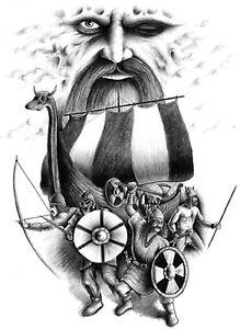 Poster ca. 70x50cm  Wotans krieger Wotan Allvater Asgards Krieger Kämpfer Odin