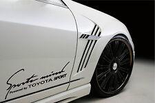 Sports Mind Powered by TOYOTA SPORT Racing Decal sticker emblem logo BLACK Pair