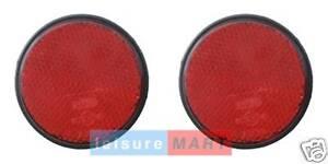 Pair of red reflectors self adhesive round