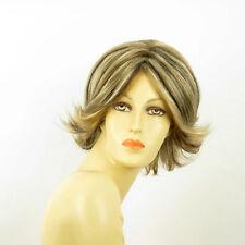 Perruque femme méchée courte blond clair méché cuivré chocolat LISA 15613H4