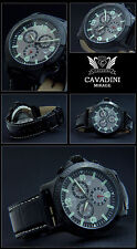 Cavadini Mirage Pilot Chronograph Watch Solid Steel ion-schwarz Plated