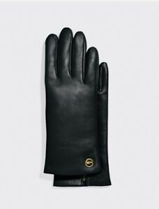 Coach Horse And Carriage Plaque Leather Tech Gloves Black Size 7 MSRP: $148.00