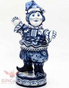 Gzhel porcelain handmade figurine of Harlequin Skomorokh Buffoon Гжель