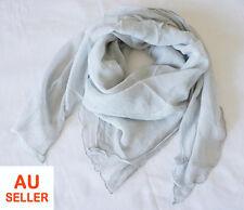 100% Pure Crinkle Silk Chiffon Square Scarves 102cm Head Neck Bandana Misty Grey