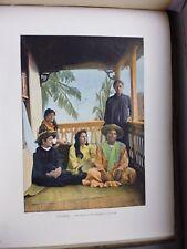 Tahiti:Gravure 19°in folio couleur/ Tahitiennes de Paapete (sous la varande)