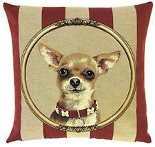 chihuahua throw pillow - chihuahua decor - belgian tapestry cushion cover
