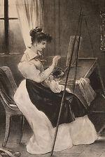 """Lithographie originale 1829 Achille Devéria """"L'artiste"""" Romantisme peintre femme"""