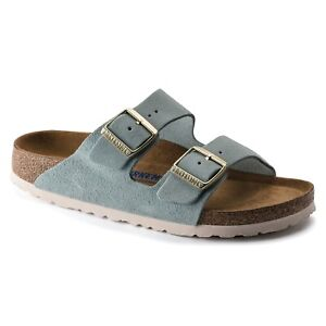 Birkenstock Arizona Soft Footbed Light Blue Suede Leather Sandal SIZE 40 NARROW