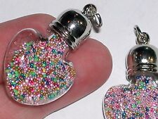 floating balls bead bracelet charm * 1 Glass Bubble Heart Rainbow pendant filled