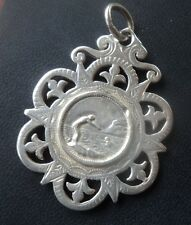VERY LARGE Victorian Sterling Silver Swimming Fob Medal - h/m 1889 not engraved