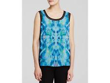 T Tahari Adina Print Front Sleeveless Blouse, Blue, Medium, NWT