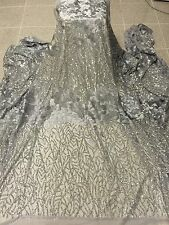"""GREY MESH W/SILVER SEQUIN EMBROIDERY   LACE FABRIC 52"""" WIDE 1 YARD"""