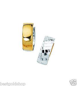 Reversible Diamond Cut Hinged Huggie Hoop Earrings Real 14K Yellow White Gold
